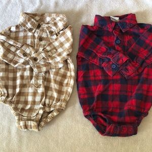 Two flannel infant onesies
